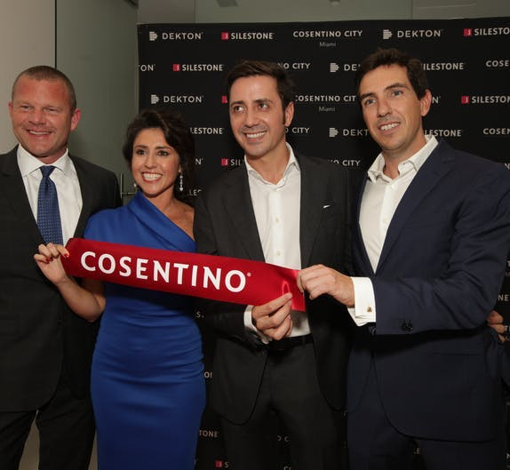 "Image of Brandon Calvo Carolina Almeida Eduardo Cosentino Alvaro Gonzalez Cosentino City Miami 2 in Cosentino Group opens in Miami its 11th ""City Center"" showroom around the world - Cosentino"