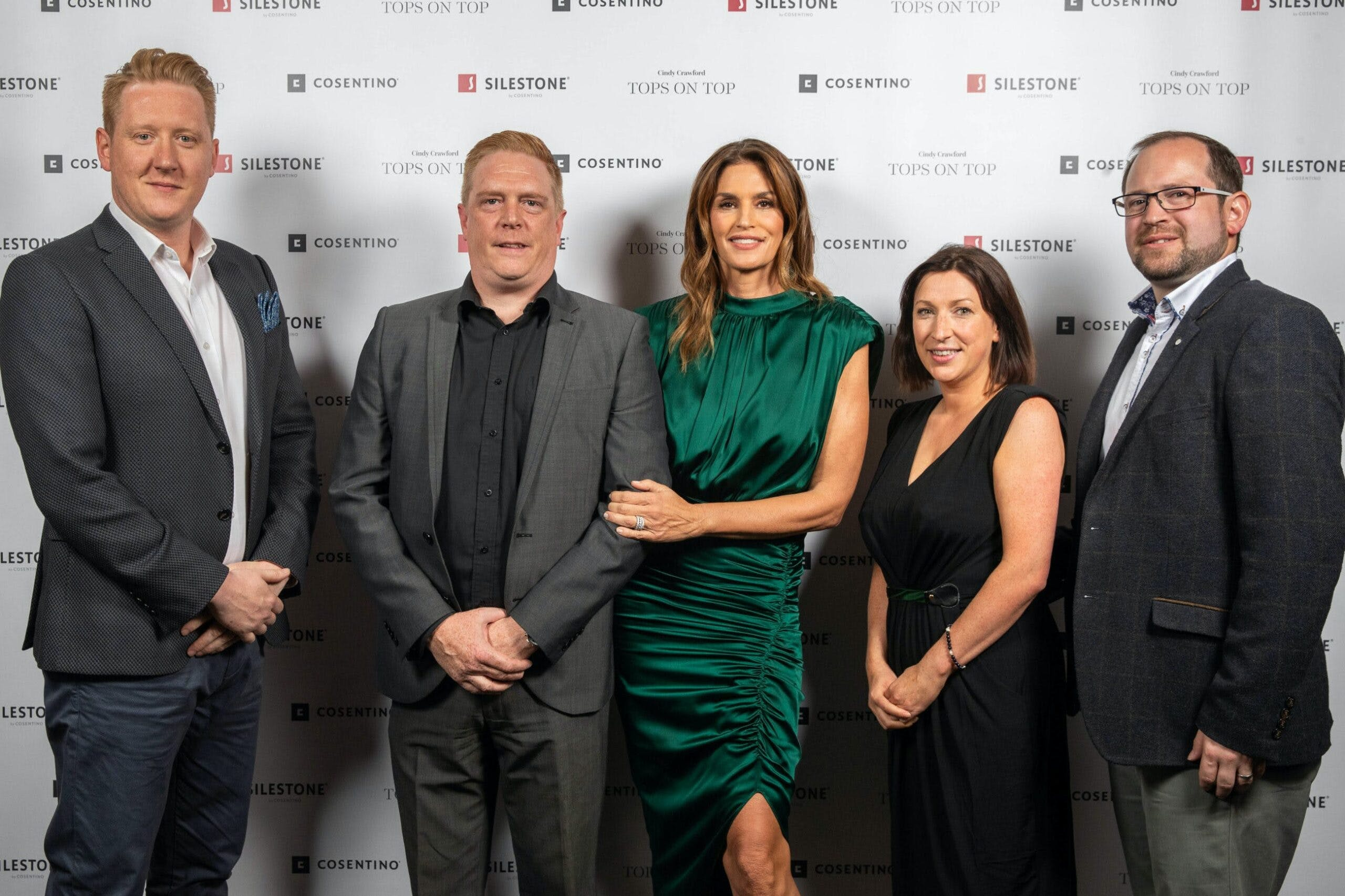 "Image of Christopher Hay Brett Wallace Cindy Crawford Laura Davie Ross Stewart Silestone London 1 scaled in Silestone® Presents its New ""Tops on Top 2019"" Campaign Featuring Cindy Crawford - Cosentino"
