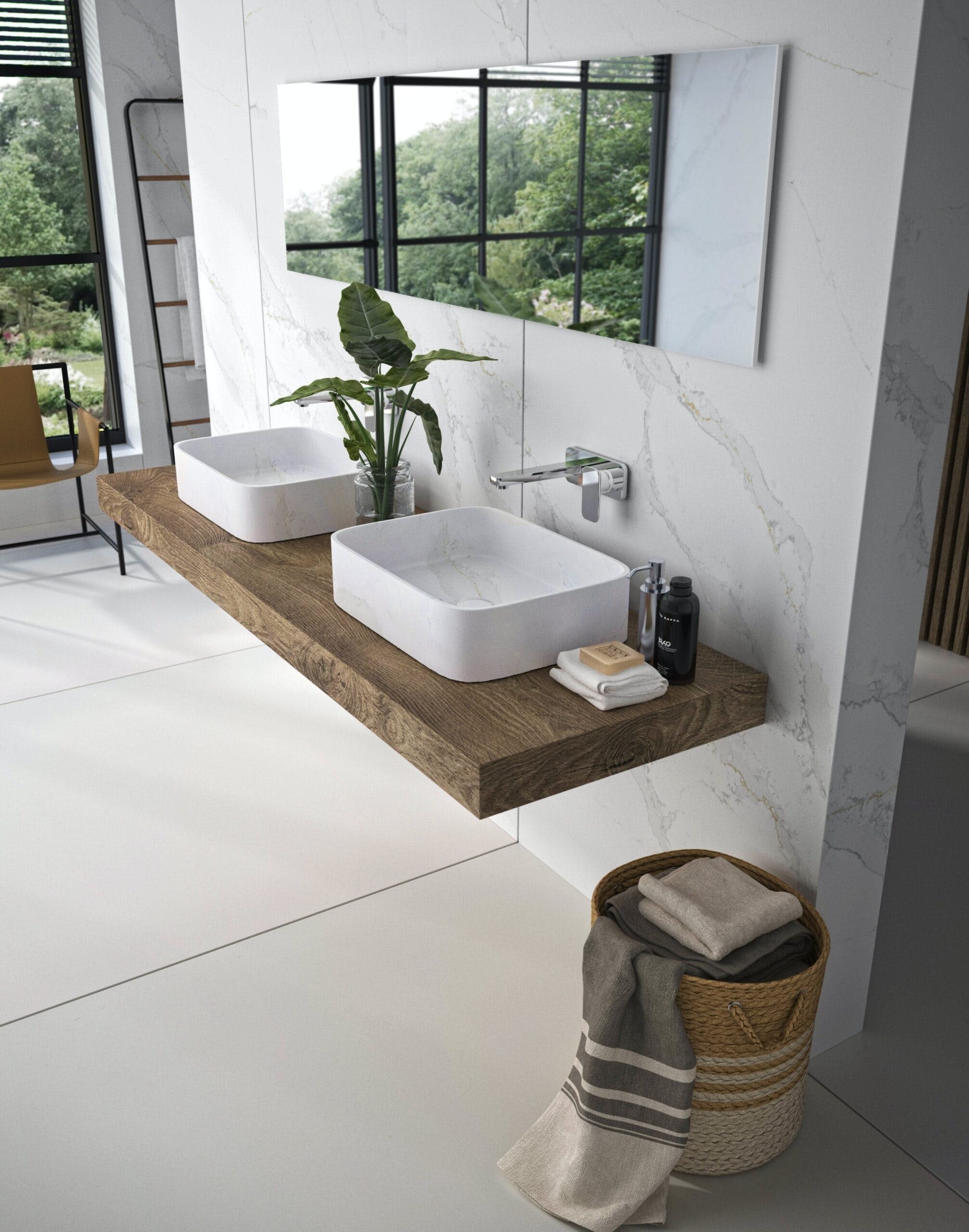 Lavabo Marie by Silestone y revestimiento pared   Color Silestone Calacatta Gold 1 1 scaled | Cosentino