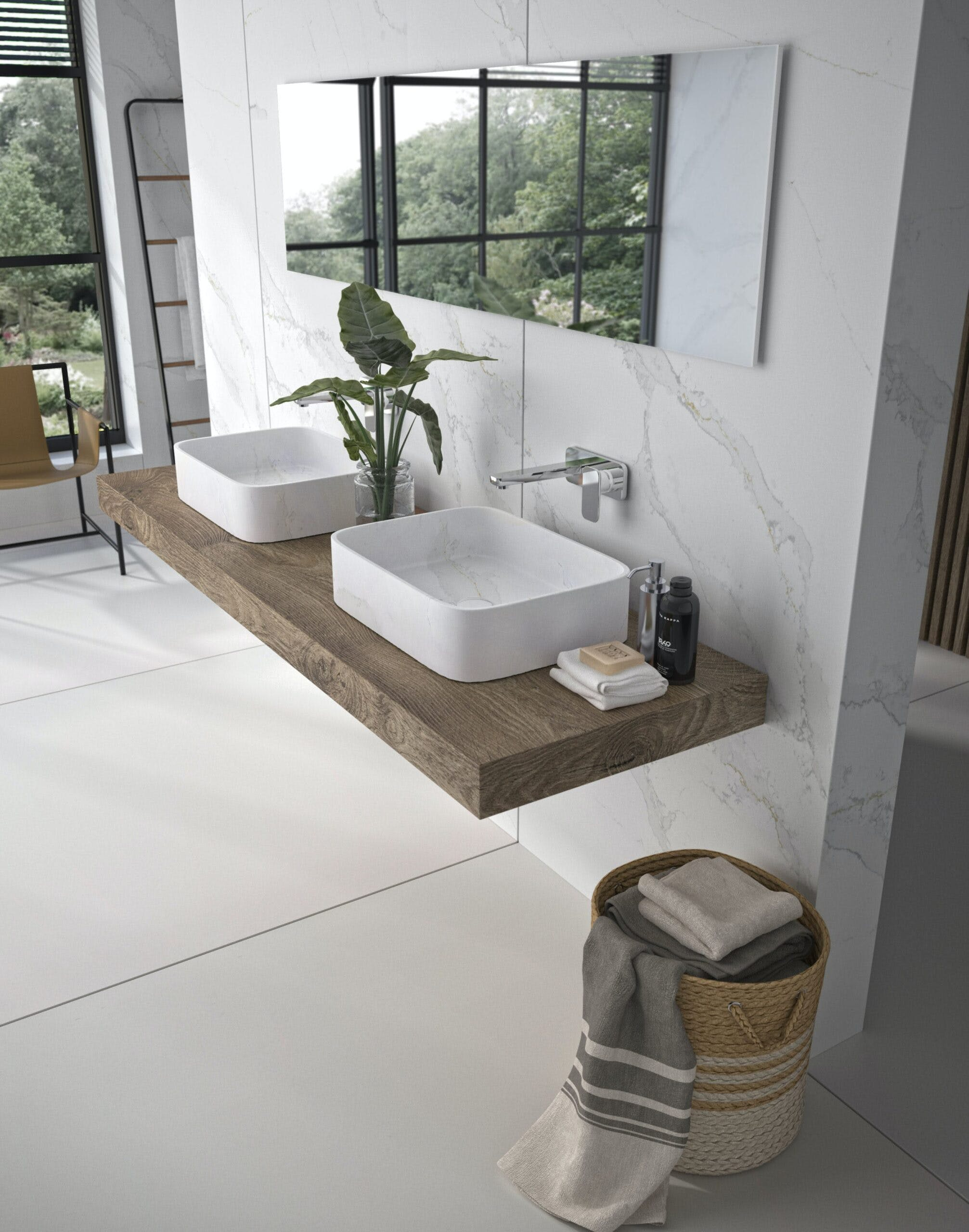 Lavabo Marie by Silestone y revestimiento pared   Color Silestone Calacatta Gold 1 scaled | Cosentino